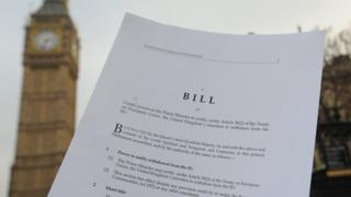 Second page of three of the Article 50 legislation which paves the way to start the Brexit process. The European Union (Notification of Withdrawal) Bill is a public bill presented to Parliament by the Government. The Bill was introduced to the House of Commons and given its First Reading on Thursday 26 January 2017