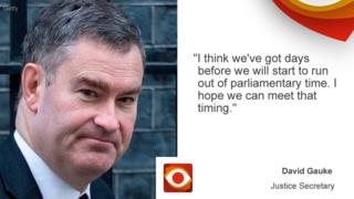 """David Gauke: """"I think we've got days before we will start to run out of parliamentary time. I hope we can meet that timing."""""""