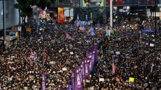 Anti-government protesters take to the streets of Hong Kong