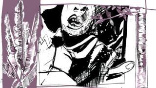 Ilustração de uma cena de mulher sendo atacada
