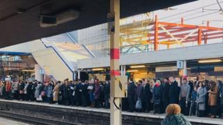 Passengers on St Albans City platforms