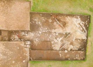Aerial view of the structure, right