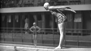 Lady on diving board in 1930s