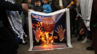 Palestinians protest against President Trump's Middle East peace plan by burning a poster of Mr Trump