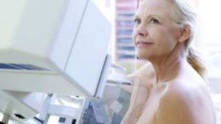 Older woman having a mammogram
