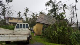 Buildings and trees are damaged after Cyclone Winston swept through the town of Ba on Fiji's Viti Levu Island, 21 February 2016
