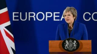 May speaking at news conference