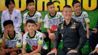 Members of a Thai football team trapped in a cave give a press conference