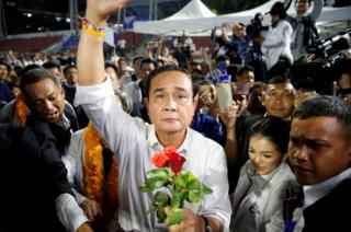 Thailand's Prime Minister Prayuth Chan-o-cha at a Palang Pracharath Party campaign rally in Bangkok on March 22, 2019