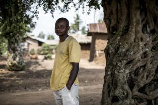 Portrait of Justin, who has had his name changed for protection, a journalist in Mangina, DRC