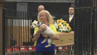 Emma Faulds' West Highland terrier Maverick leads the procession out of the church