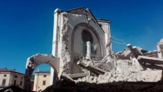 Basilica of San Benedetto destroyed after the strong earthquake in central Italy, Norcia, Umbria Region, 30 October 2016