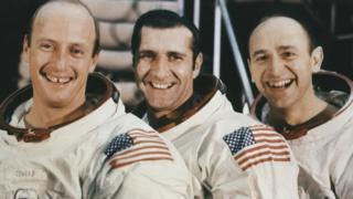 "US Astronauts of Apollo 12 (L-R) Mission Commander Charles ""Pete"" Conrad, .Command Module Pilot Richard Gordon and Lunar Module Pilot Alan Bean"