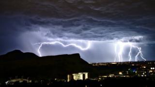 Lightning over Edinburgh