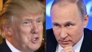 Prezida Trump (i buryo) wa Amerika na Putin w'Uburusiya