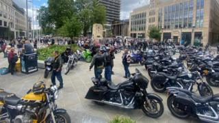 Bikers at the protest at the cenotaph in Bristol