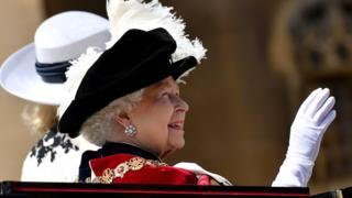 Queen Elizabeth waves to crowds