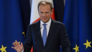 The President of the European Council Donald Tusk