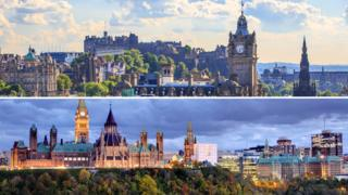 Edinburgh and Ottawa skylines
