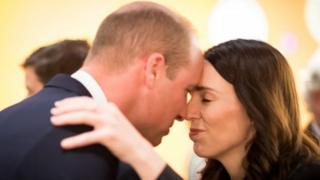 Prince William greeted the New Zealand Prime Minister, Jacinda Arden, with a traditional Maori greeting called the Hongi