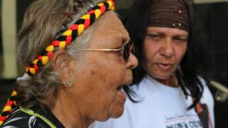 Ms Dhu's mother Della Kay Roe (right) and grandmother Coral June Roe hold a press conference in Perth