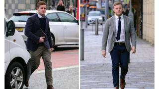 Paddy Jackson (left) and Stuart Olding arriving at court on Wednesday