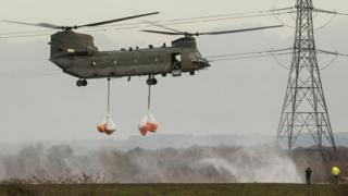 RAF chinook in Lancashire village of Croston