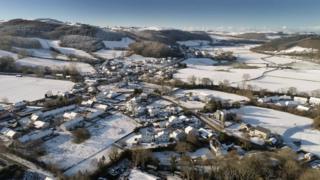 An aerial shot of Llanilar, near Aberystwyth