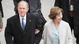 Former President George W Bush with his wife Laura