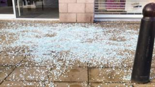 Broken glass at Inshes Retail Park