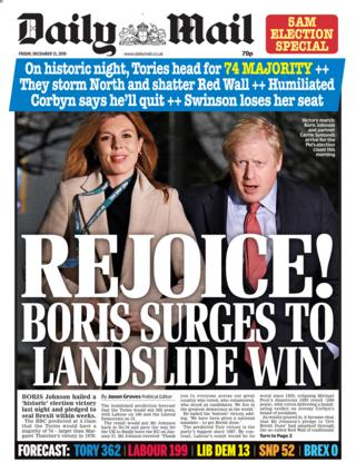 Newspaper headlines: 'Rejoice for Boris' after 'historic' Tory win