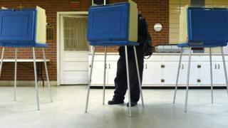 美国北卡罗来纳州的一个投票站