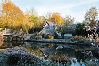 A cottage and gardens covered in ice