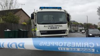 Bomb disposal van at scene in Coventry