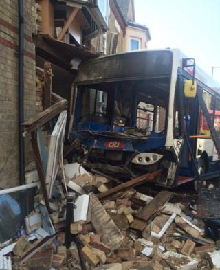 Bus crash on Broadway, Peterborough