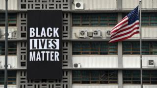 BLM banner on building