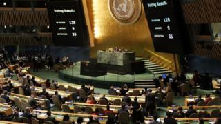 نتائج تصويت الجمعية العامة للأمم المتحدة على مشروع القرار بشأن القدس