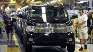 Dodge Ram cars on Warren Production line