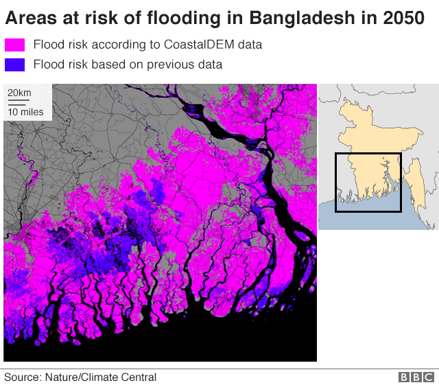Map showing flood risk in Bangladesh 2050
