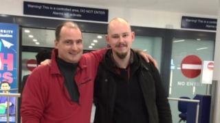 Lawrence Trace and Max Jeckeln meeting at the airport