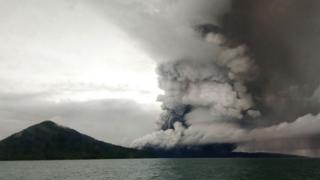 This picture taken on December 26, 2018 shows the Anak (Child) Krakatoa volcano erupting,