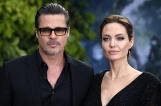 A May 2014 photo of Brad Pitt and Angelina Jolie attending the premiere of Maleficent at Kensington Palace, London