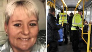 Julie Reilly and police on bus