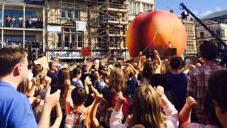 A giant peach in Cardiff