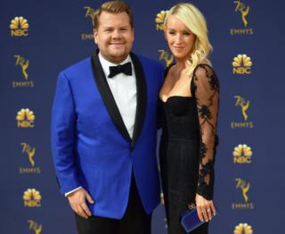 James Corden pictured with wife Julia Carey