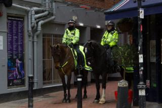 Police horses in the snow in George Street