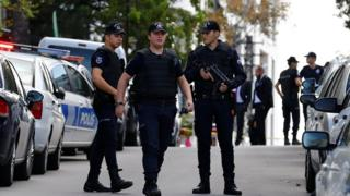 Riot police stand guard near the of Israeli Embassy in Ankara, Turkey, September 21, 2016.