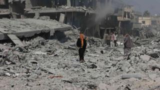 جانب من الحطام في قطاع غزة