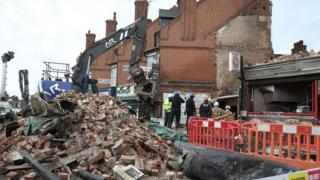 Aftermath of Hinckley Road shop blast