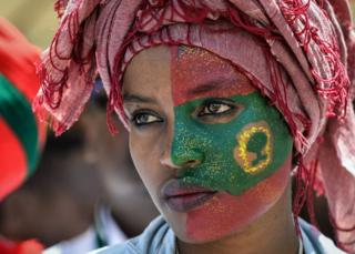 A woman takes part in celebrations for the return of the formerly banned anti-government group the Oromo Liberation Front (OLF) at Mesquel Square in Addis Ababa, Ethiopia - 15 September 2018